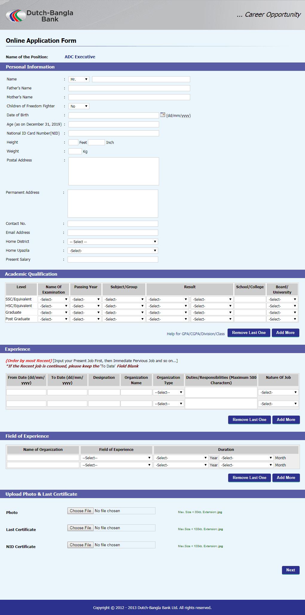 DBBL Application Form