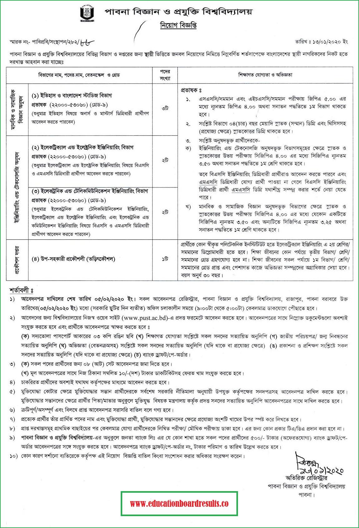 Pabna University of Science and Technology Job Circular 2020