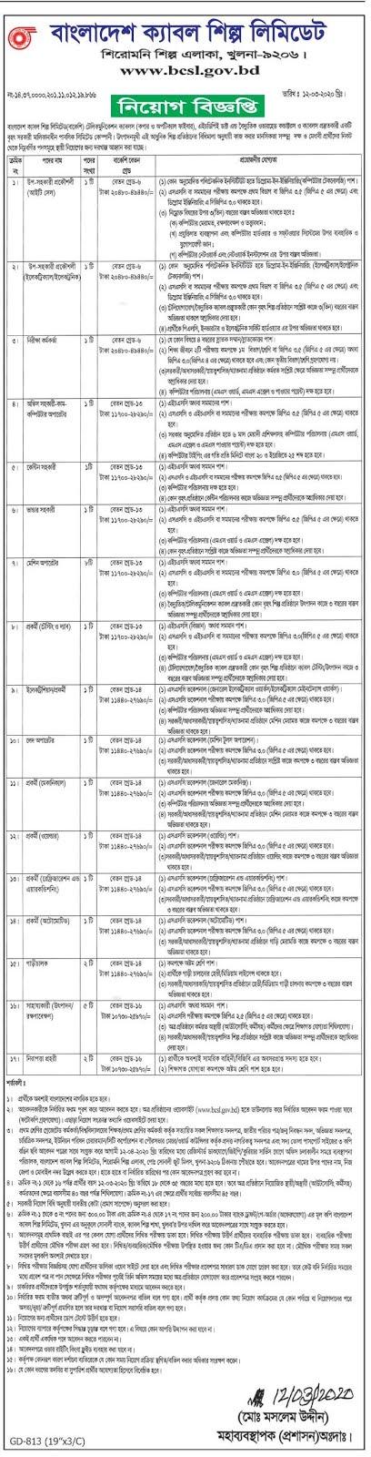 Bangladesh Cable Shilpa Limited Job Circular 2020