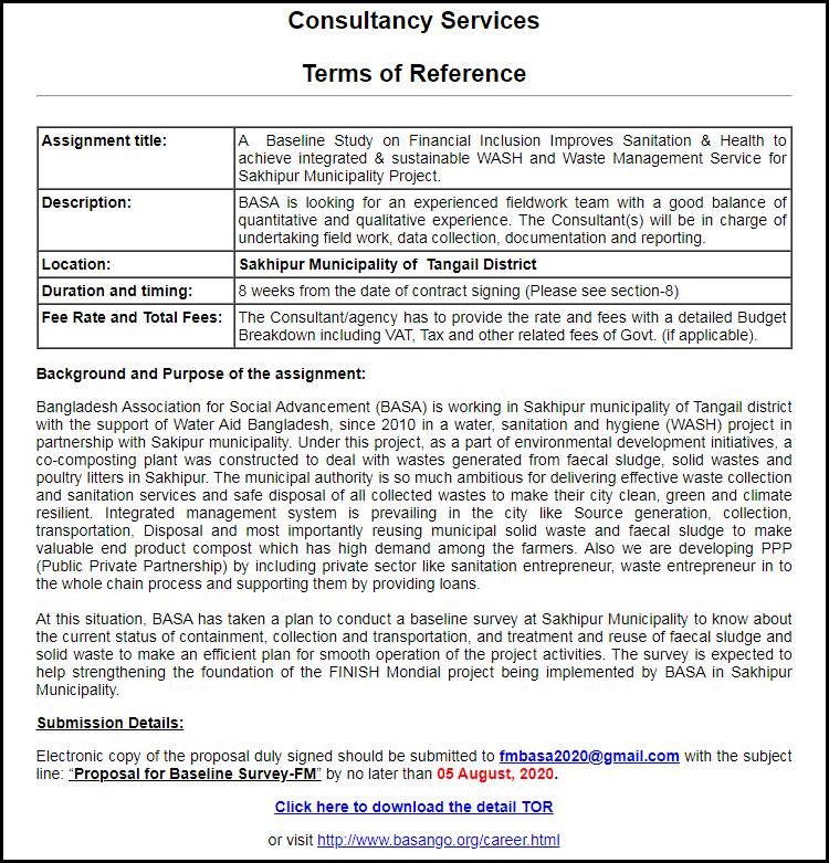 BASA Experienced Fieldwork Team Job Circular 2020