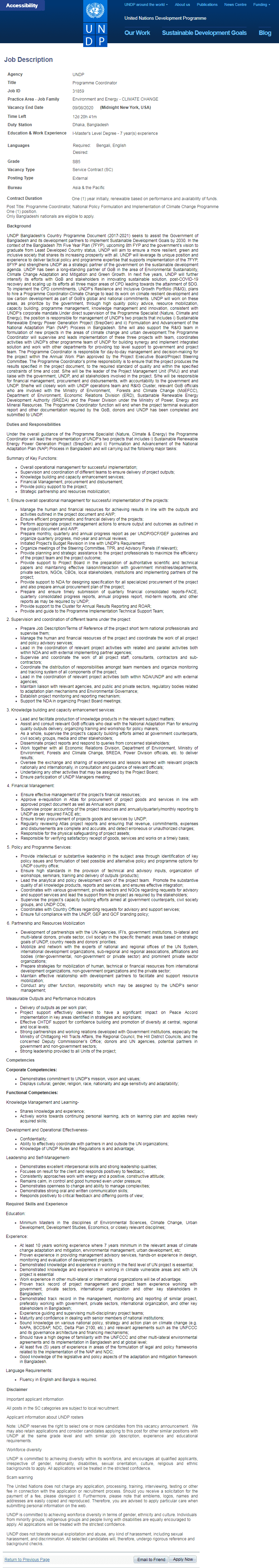 UNDP Programme Coordinator Job Circular 2020