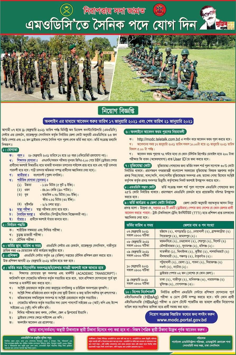 MODC Sainik Job Circular
